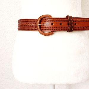 Vintage Brown Leather Woven Western Statement Belt